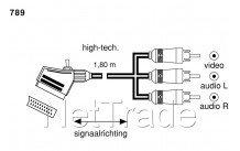 Deltac - 1.8m-scart,scart m<>3x rca m,interrupteur - 0789
