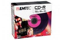 Emtec cd-r 700mb 52x vinyl look slim case 10st/pcs - ECOC801052SLVY