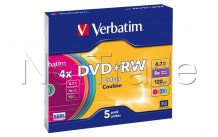 Verbatim - 5 x dvd+rw - 4.7 gb 4x - slim jewel case - 43297